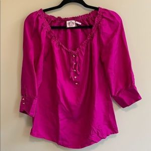 Juicy Coture Silk Blouse Hot Pink size 6